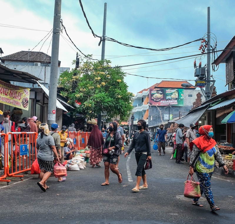 crowded street Bali locals