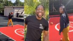 Dwyane Wade Challenges Wife Gabrielle Union To Make A Basket In Their Backyard (Video)