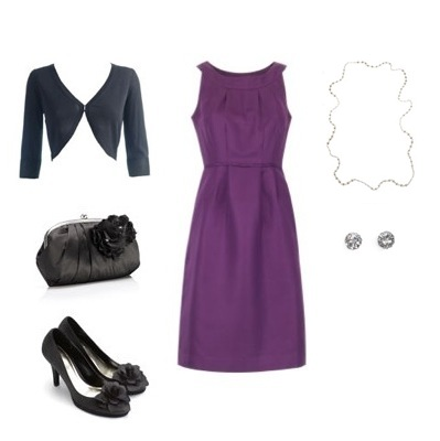 Dress from Boden, Bolero and Heels from Monsoon, Clutch, Studs and Necklace from Accessorize.