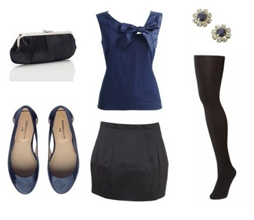 Top from Monsoon, Tulip skirt and tights from Topshop, Clutch and studs from Accessorize and shoes from Marais USA