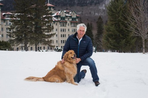Les and his dog Sophie. Photo credit: KEITH BEDFORD/GLOBE STAFF