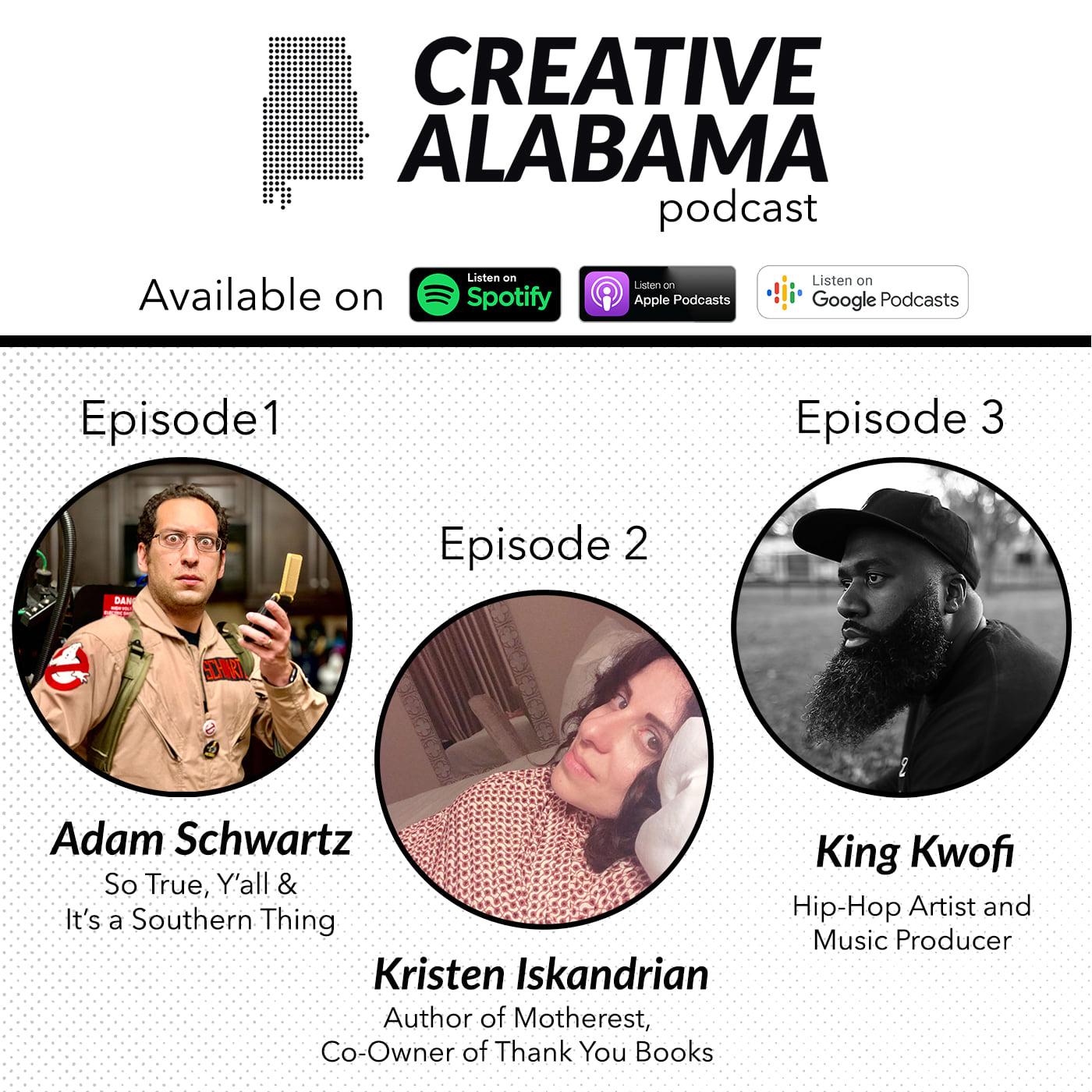 Creative Alabama Podcasts Episodes 1 Through 3 Logo