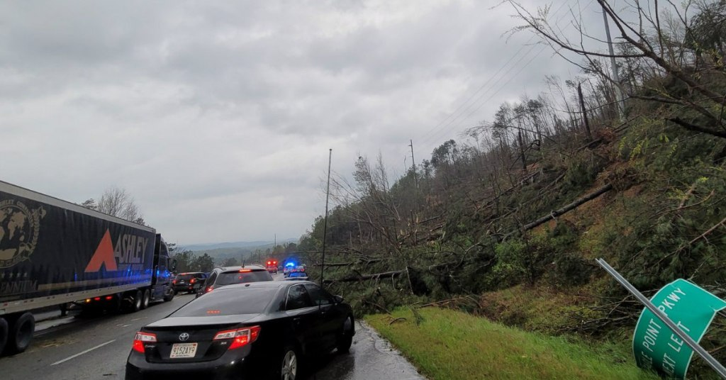 Police On Scene Of Closed Road Tornado Relief