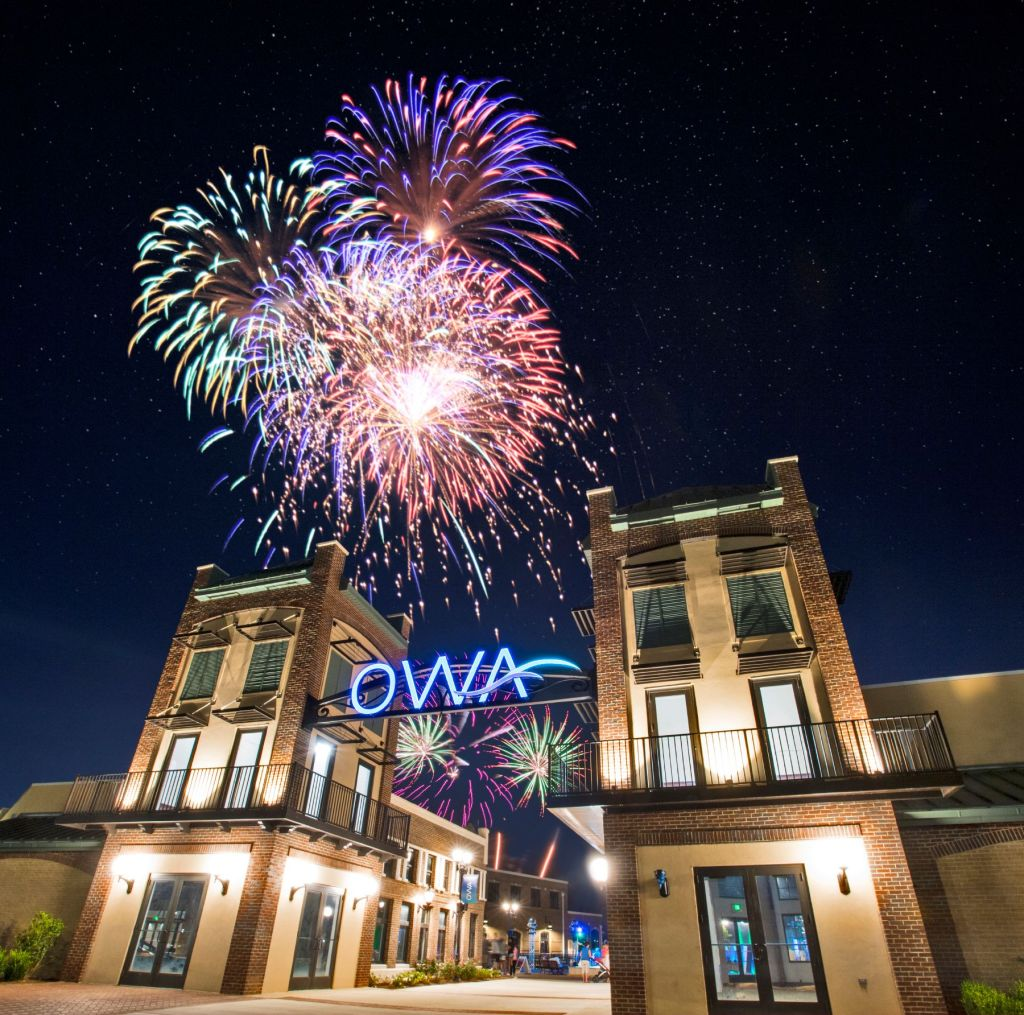 Fireworks Over The Owa Resort In Foley. Photo Courtesy Of Owa.