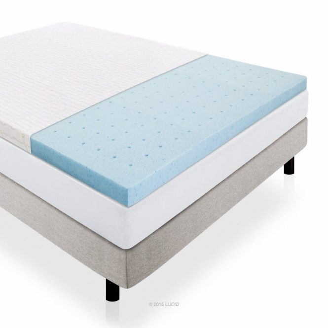 Lucid 2 5 Inch Gel Infused Ventilated Memory Foam Mattress Topper And Removable Bamboo Cover