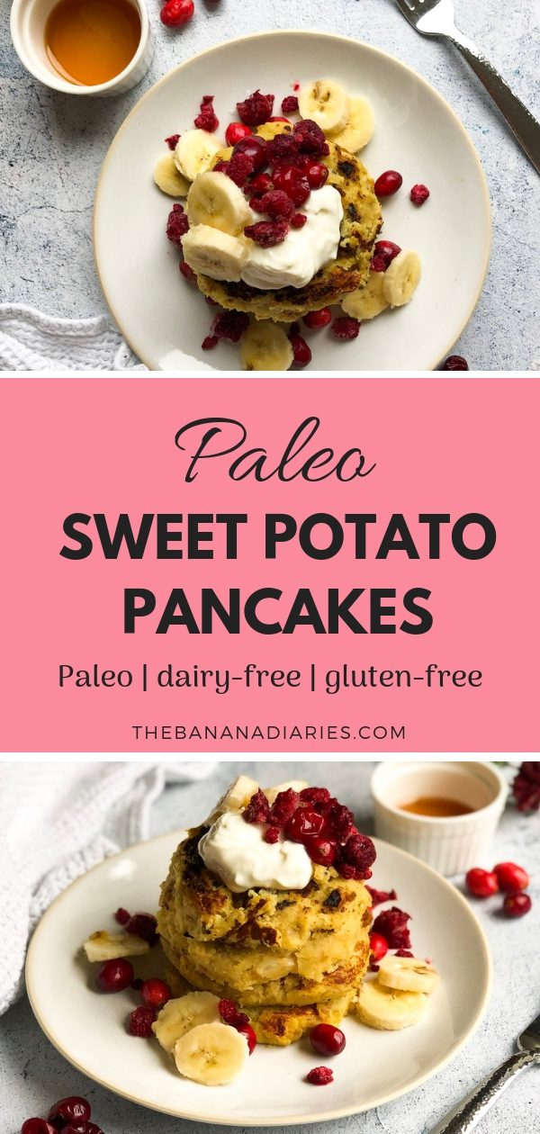 Sweet Potato Paleo Pancakes   This easy recipe for sweet potato pancakes requires just a few whole food ingredients. They're Paleo and gluten-free, and perfect for a healthy breakfast or brunch. Enjoy!   The Banana Diaries #thebananadiaries #paleo #glutenfree #pancakes #healthybreakfast #healthybrunch #pancakesrecipe