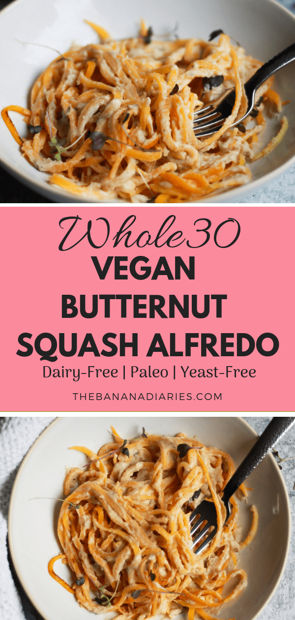Whole30 Paleo Vegan Fettucine Alfredo | This is the best easy paleo vegan Alfredo sauce and is completely yeast free and Whole30 compliant! It's a family favorite and crowd pleaser! | #thebananadiaries #paleo #vegan #alfredo #creamsauce #fettucine #grainfree