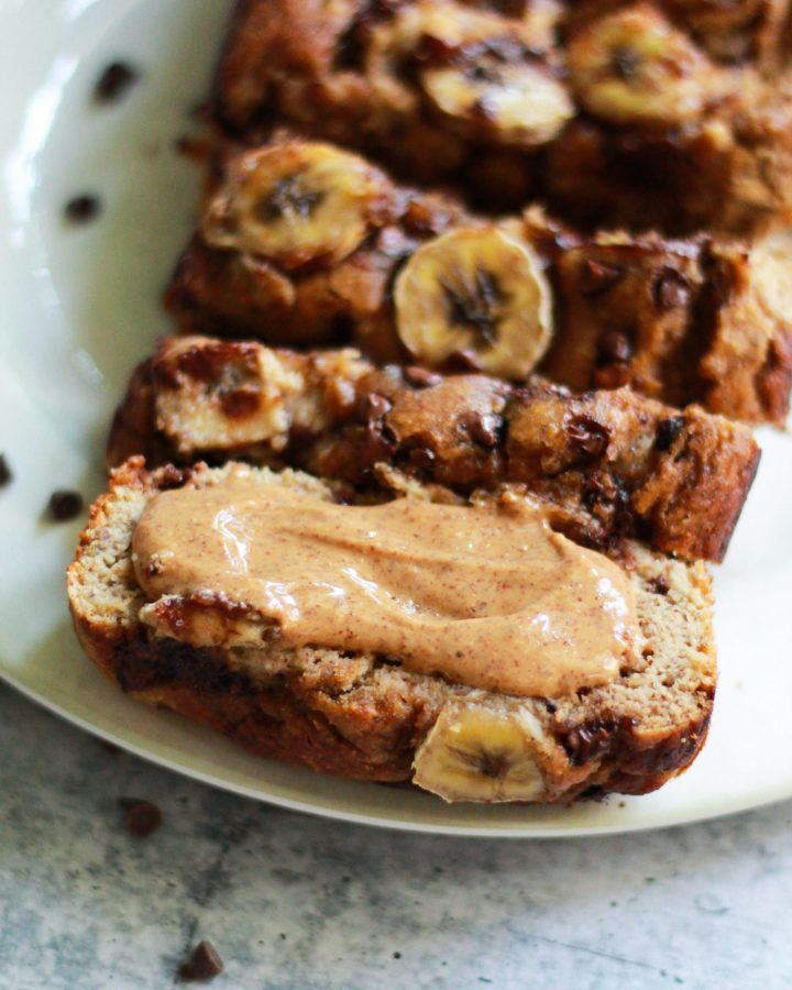 paleo banana bread with smear of almond butter