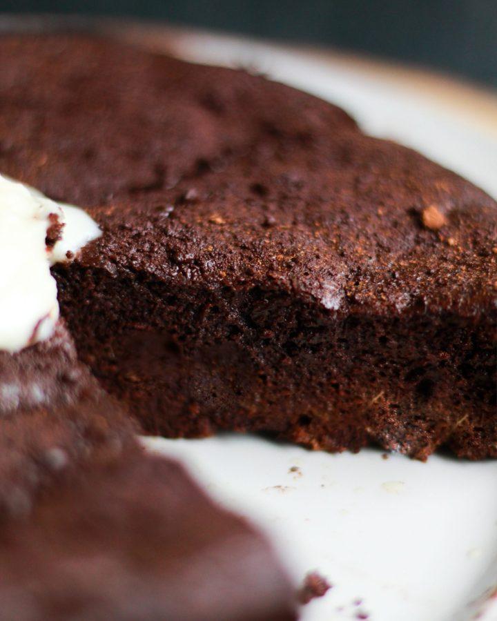 slice of chocolate flourless cake