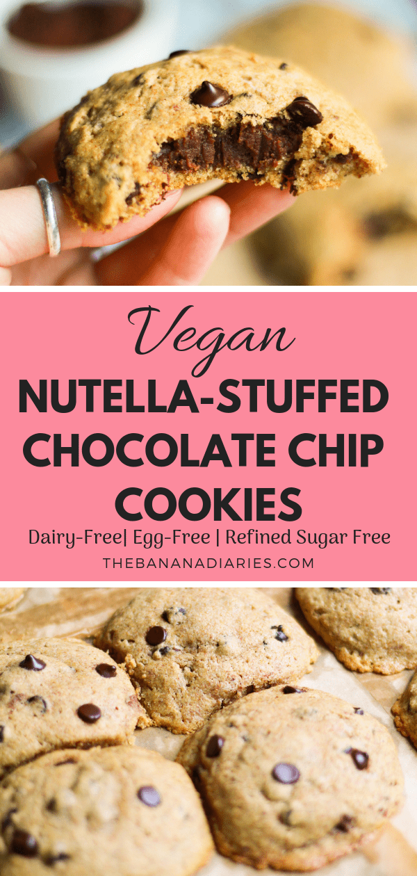 Vegan Nutella Stuffed Chocolate Chip Cookies   These gooey vegan Nutella stuffed chocolate chip cookies are downright addictive and completely dairy free, egg free, and refined sugar free! With chewy edges and a soft center, it's the perfect chocolatey bite!   #thebananadiaries #nutella #nutellastuffedcookies #vegan #chocolatechipcookies #chocolate #sugarfree