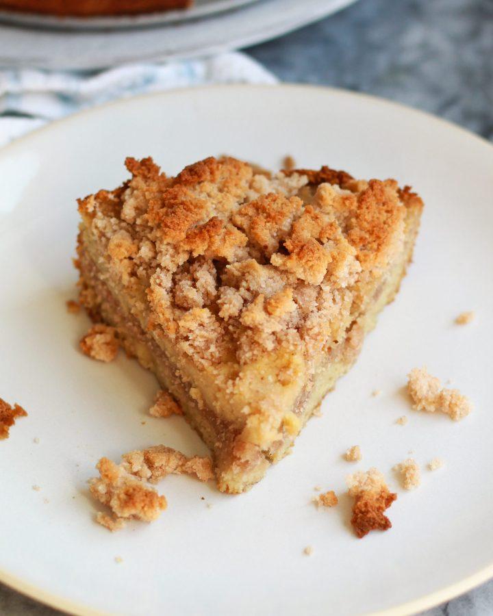 overhead shot of paleo cinnamon coffee cake on a plate