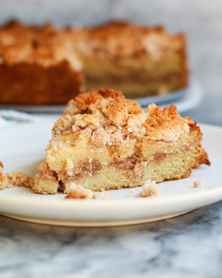 slice of paleo cinnamon coffee cake
