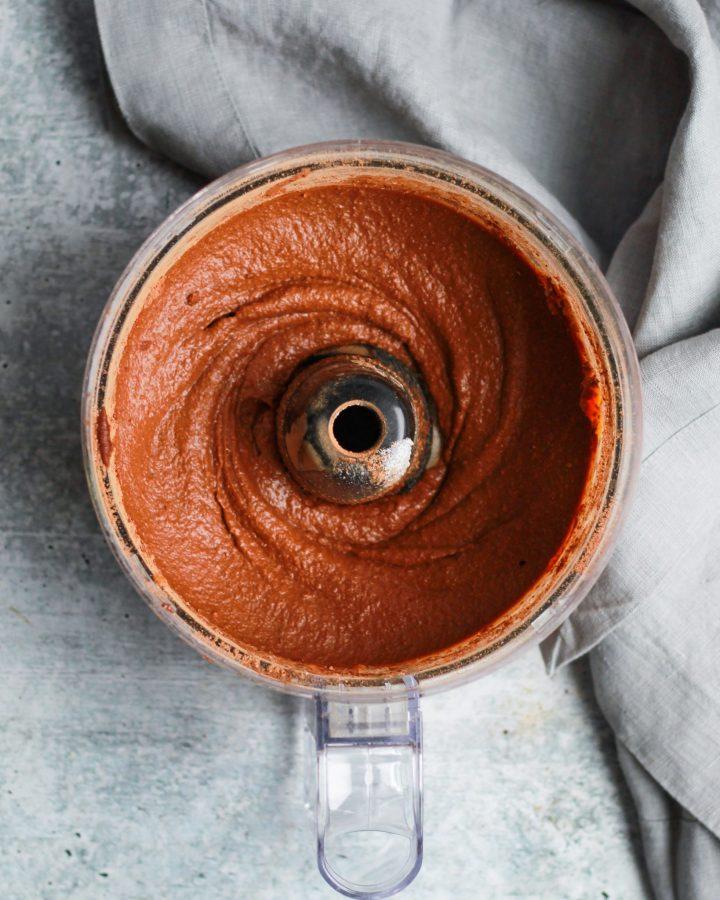 Food processor with healthy vegan Nutella brownie batter