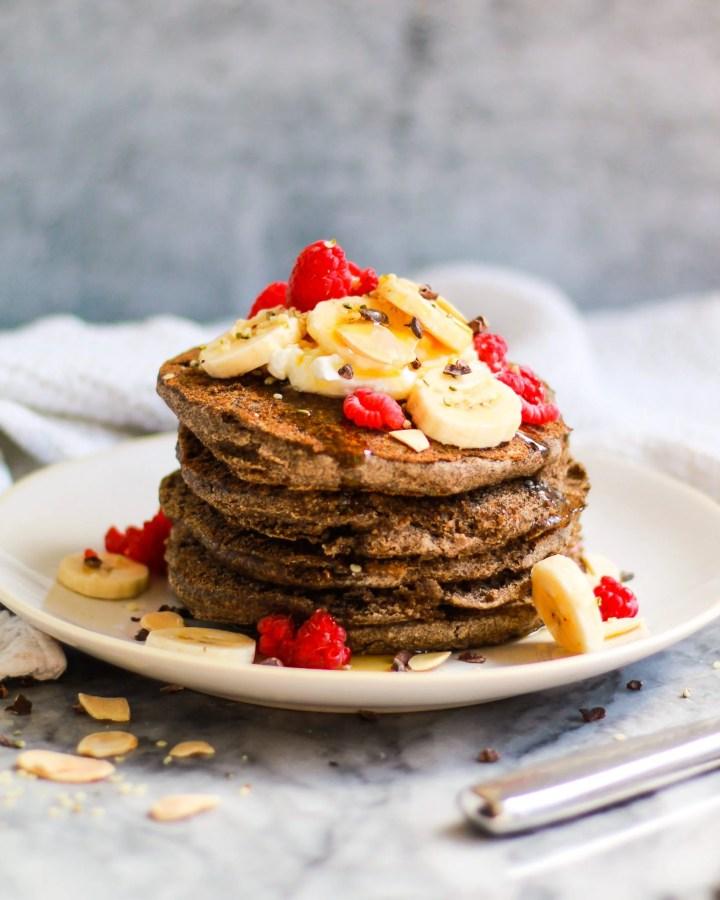 stack of fluffy vegan buckwheat pancakes