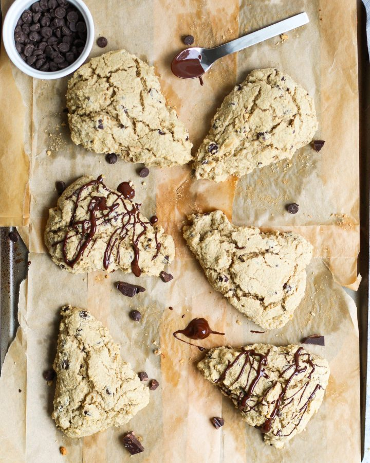 baking sheet with chocolate chip scones on top