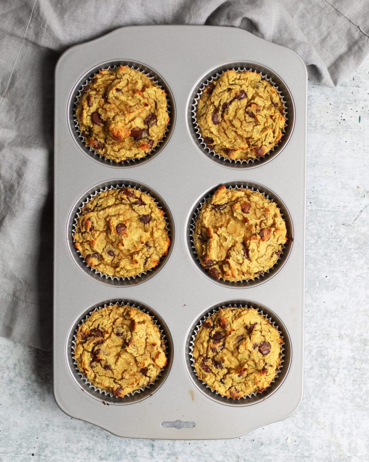 paleo chocolate chip zucchini muffins in muffin tin
