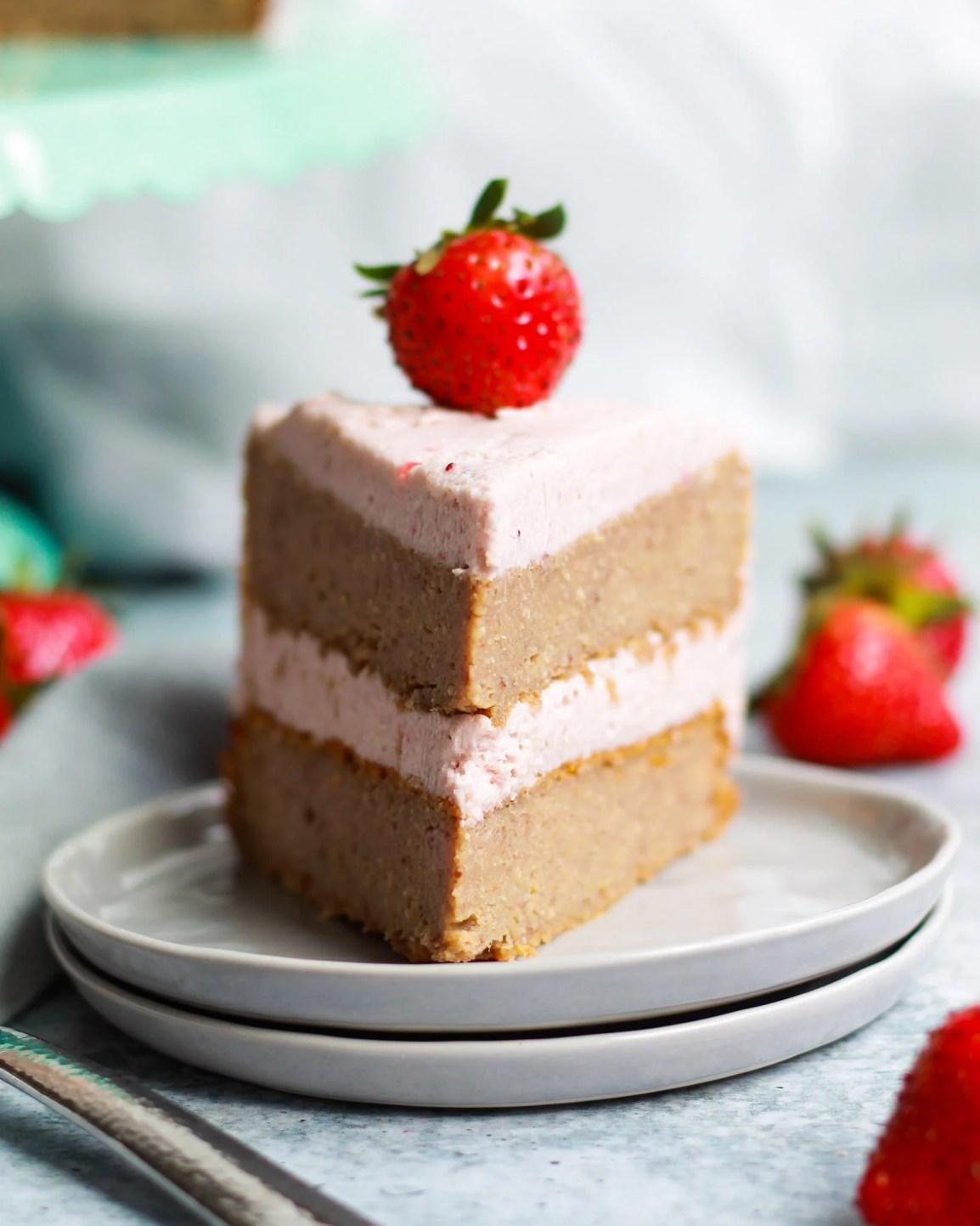straight on shot of strawberry cake