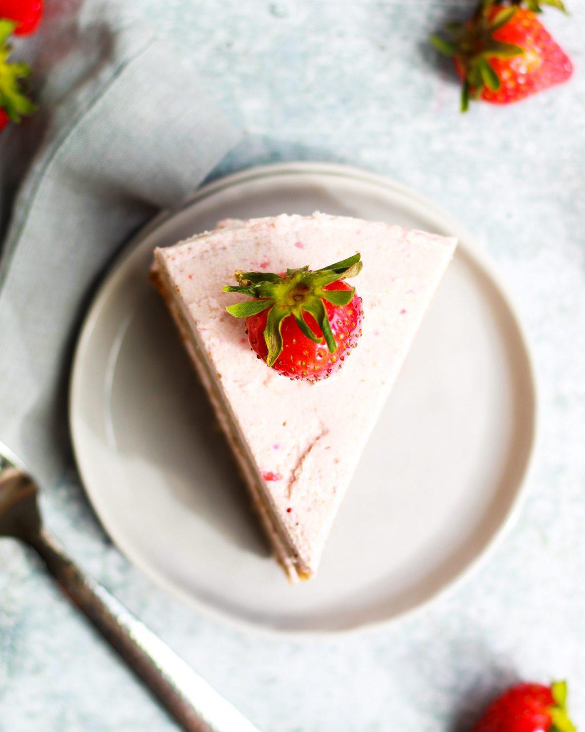over head shot of strawberry cake slice
