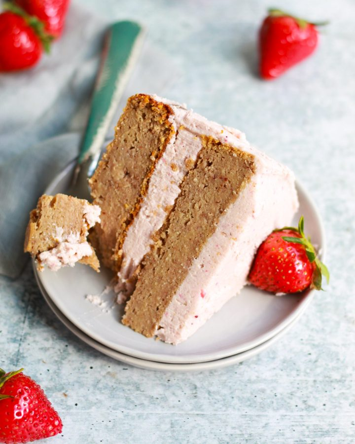 slice of strawberry cake with fork mark