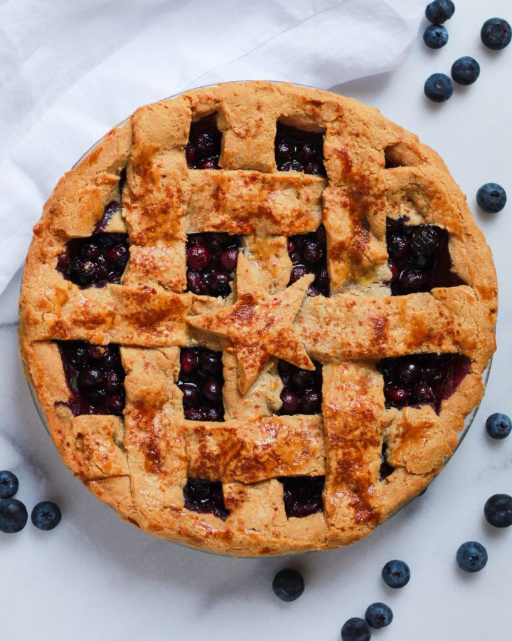 paleo blueberry pie with lattice crust