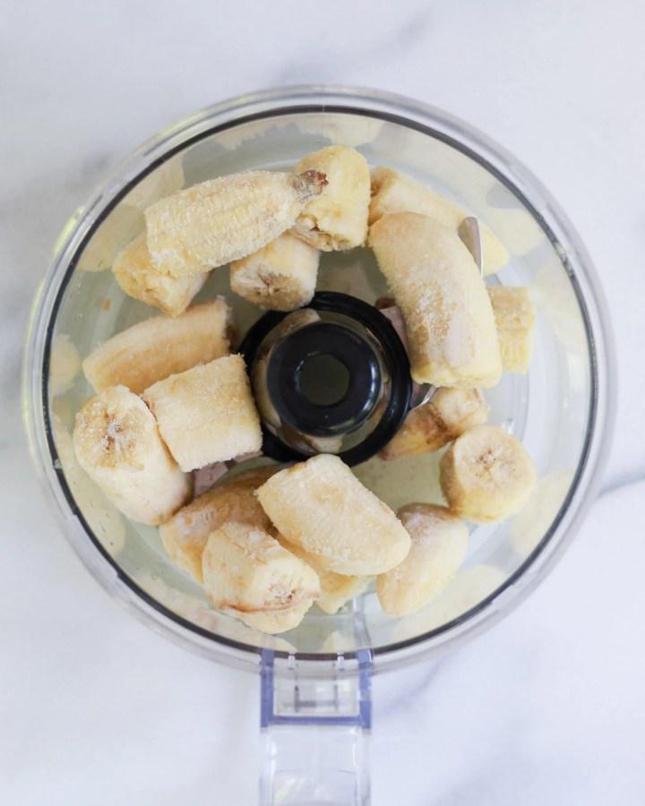 frozen bananas in food processor
