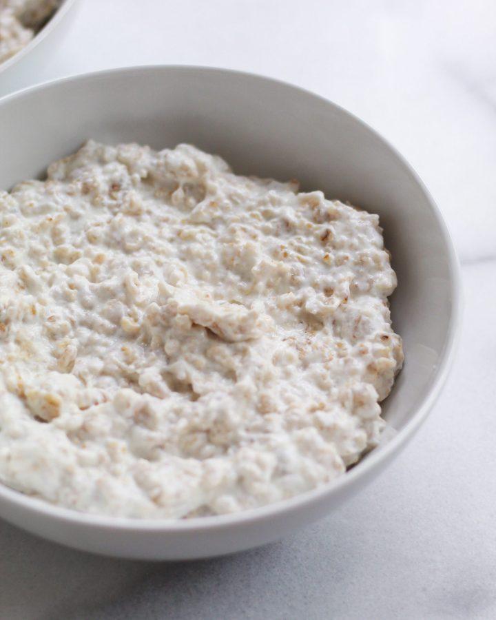 basic oatmeal recipe plain in white bowl