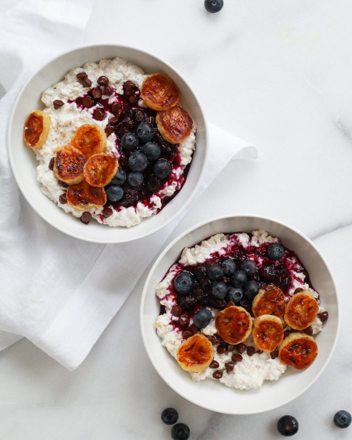 two bowls of the creamiest healthy oatmeal