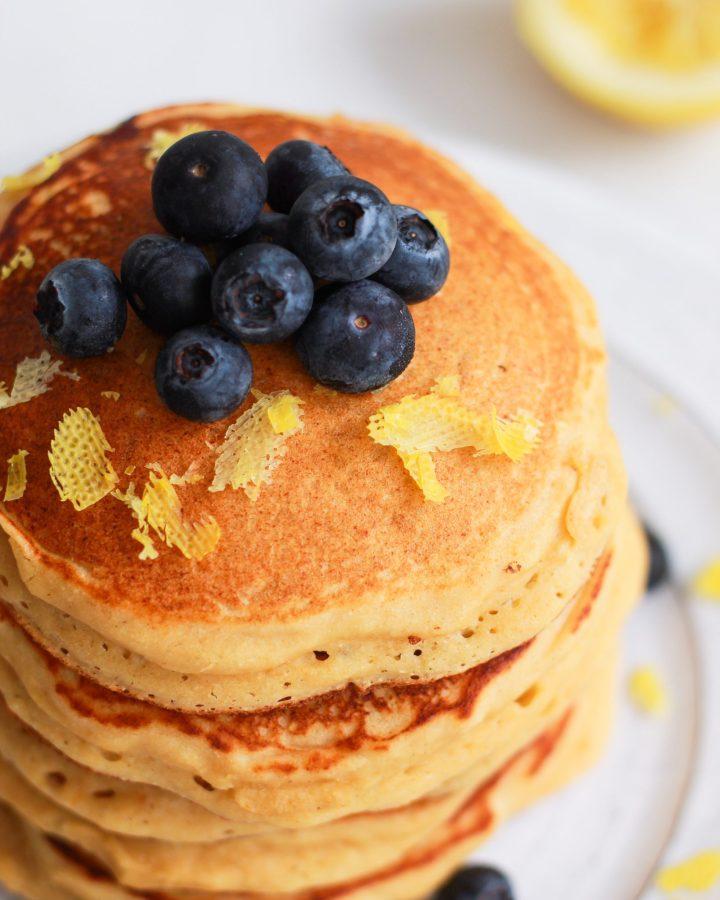close up of lemon ricotta pancakes