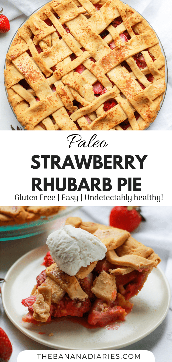 Pinterest image for strawberry rhubarb pie