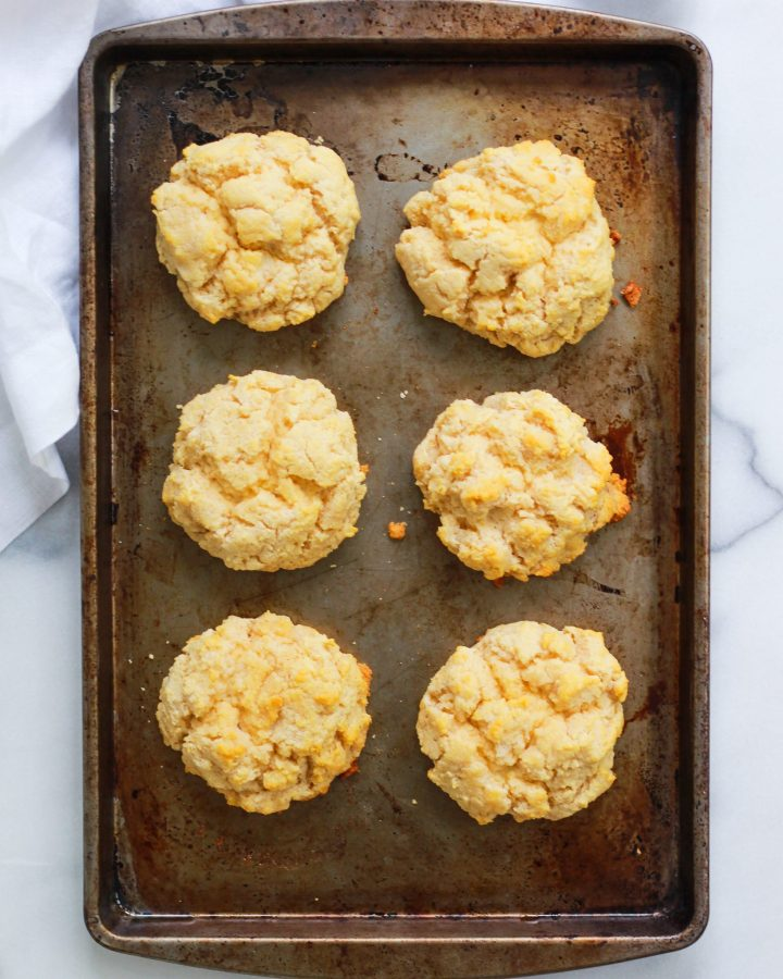 six biscuits on a baking pan