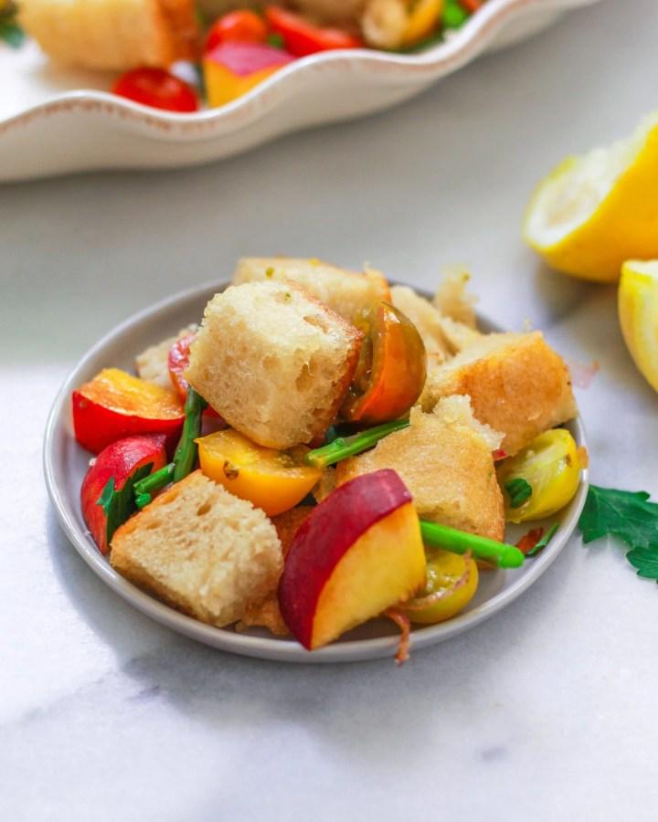 small plate of panzanella salad