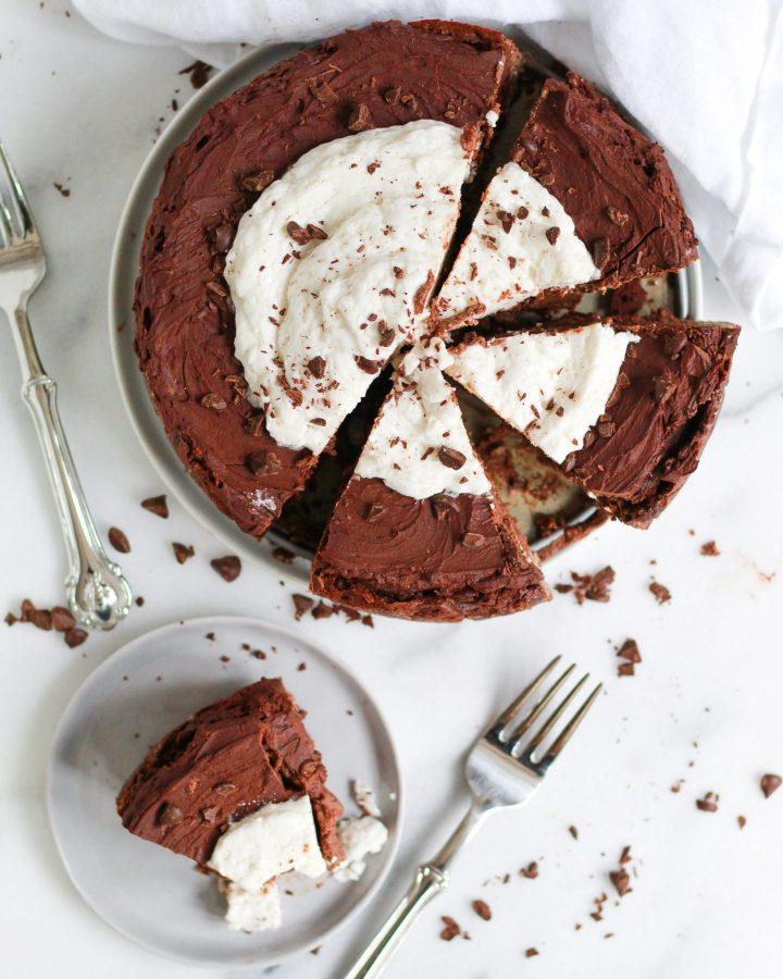 overhead of chocolate cheesecake scene