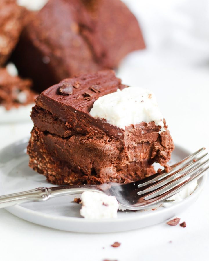 bite missing from chocolate cheesecake