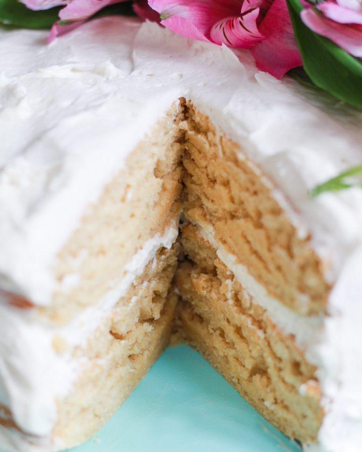 close up of vegan vanilla cake texture