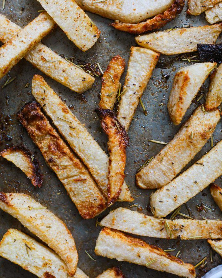 close up of baked  jicama fries