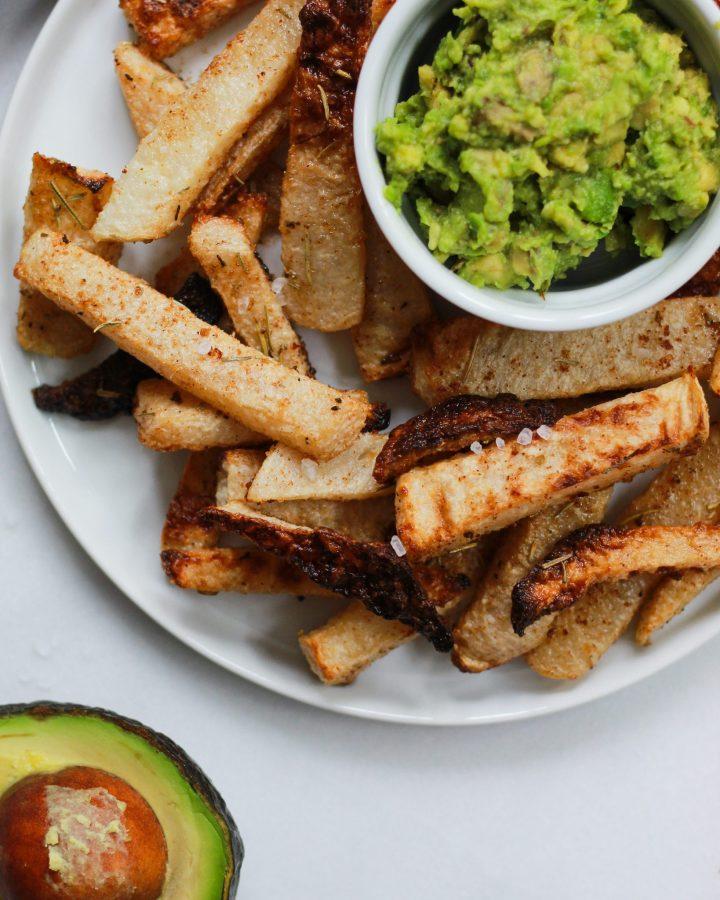 close up of jicama fries