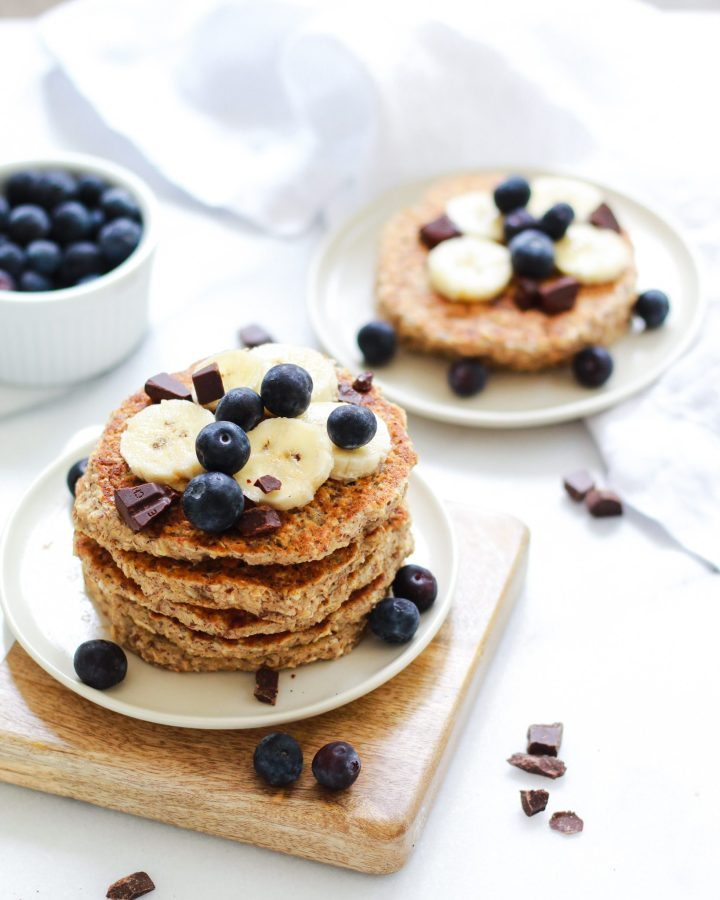 plates of stacked pancakes