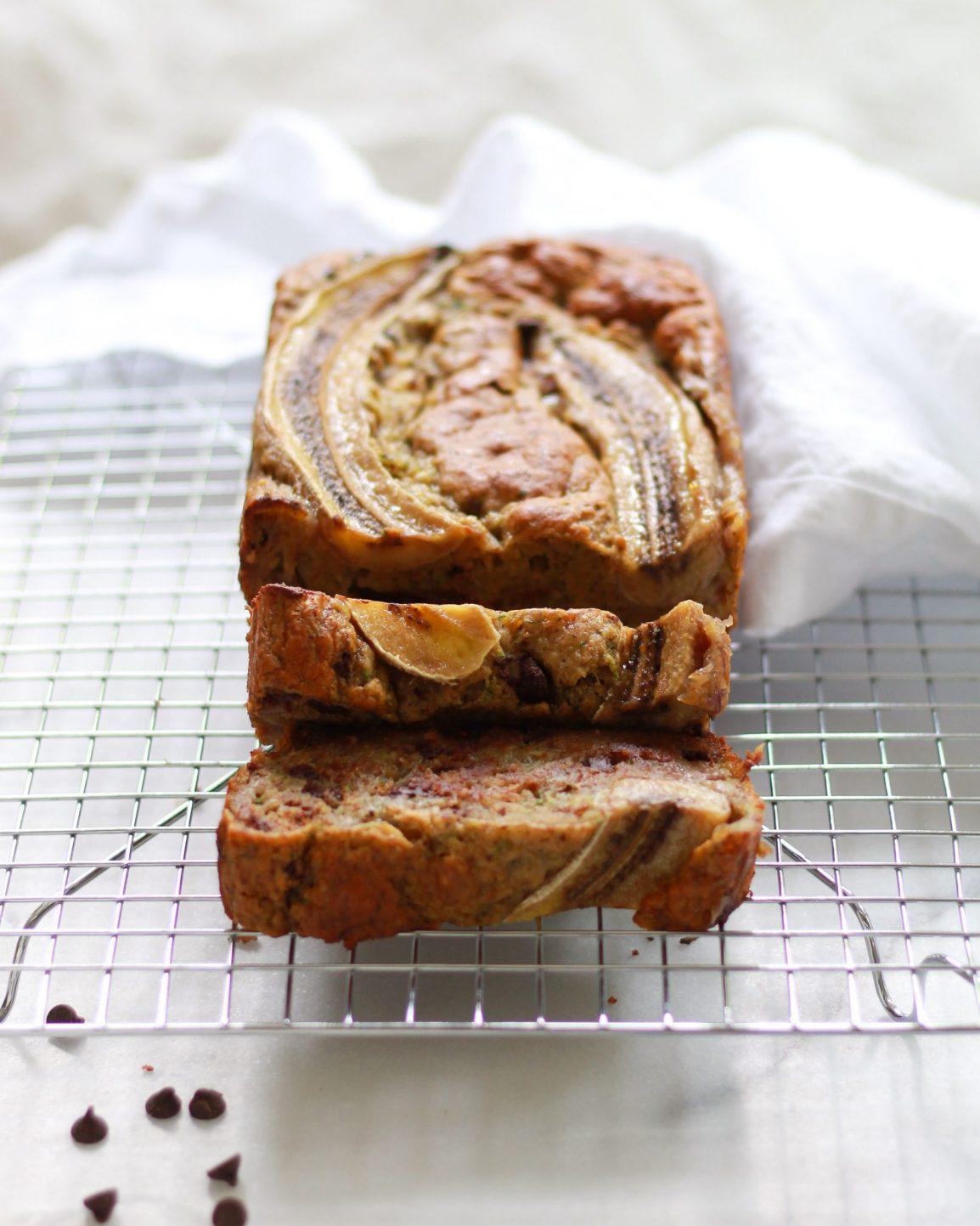 sliced banana bread on drying rack