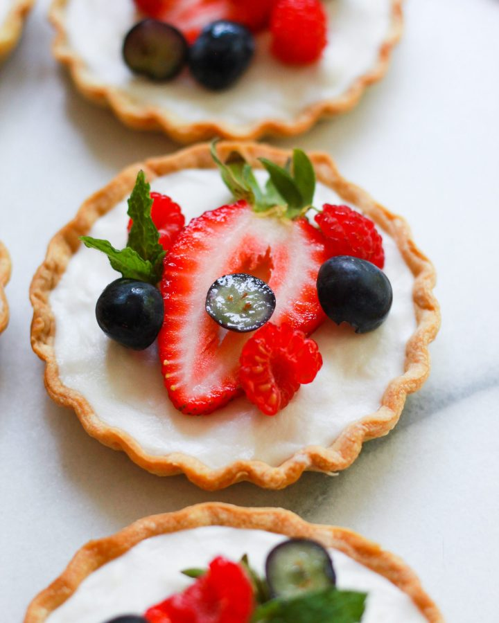 close up of vegan fruit tart