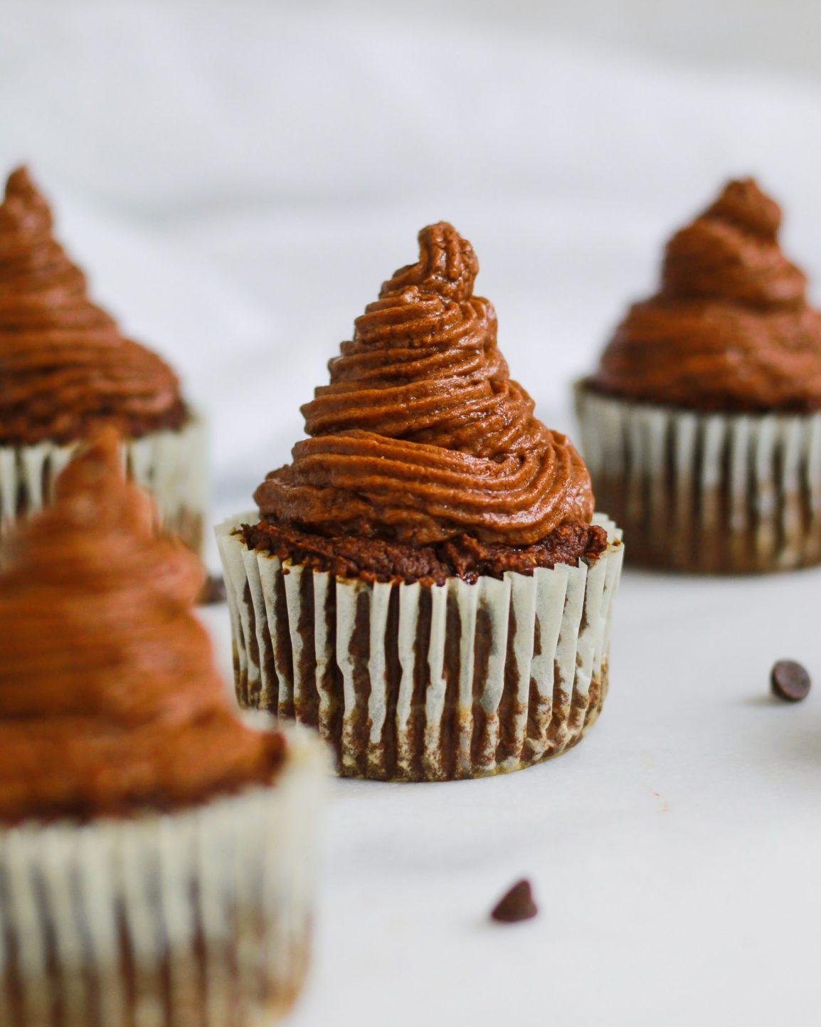 paleo vegan chocolate cupcakes on marble slab