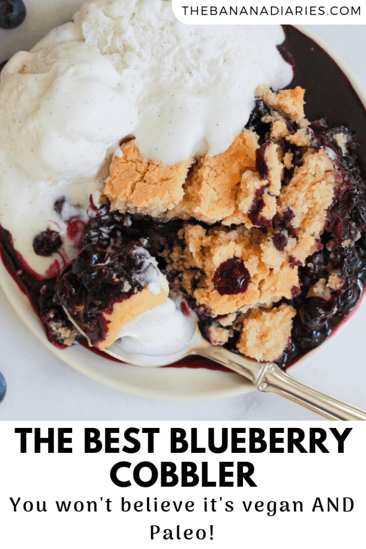 pinterest image for blueberry cobbler