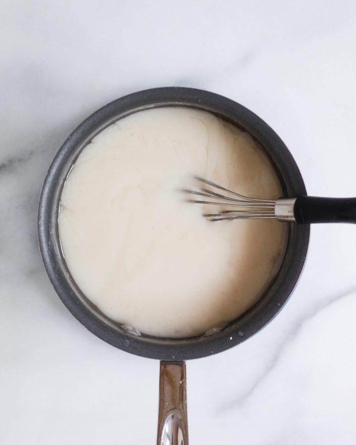 vegan key lime pie filling in a saucepan
