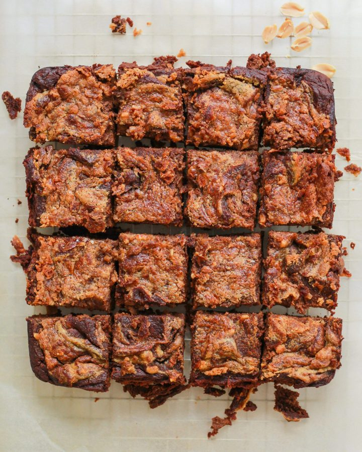 healthy peanut butter brownies on parchment paper
