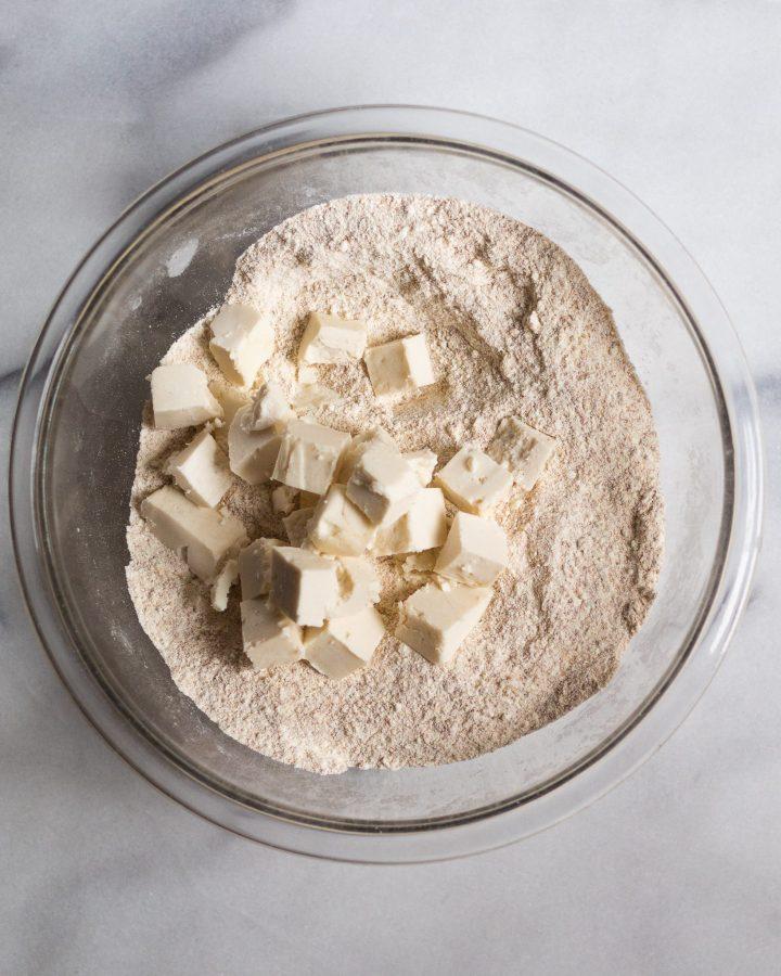 cassava flour with vegan butter in a bowl