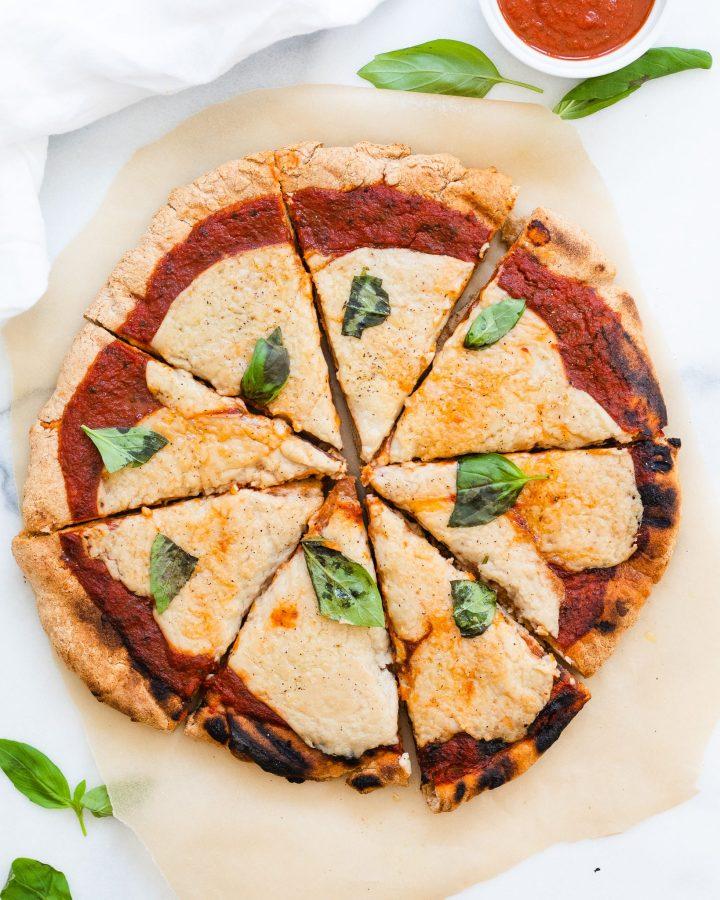 sliced whole simple vegan pizza