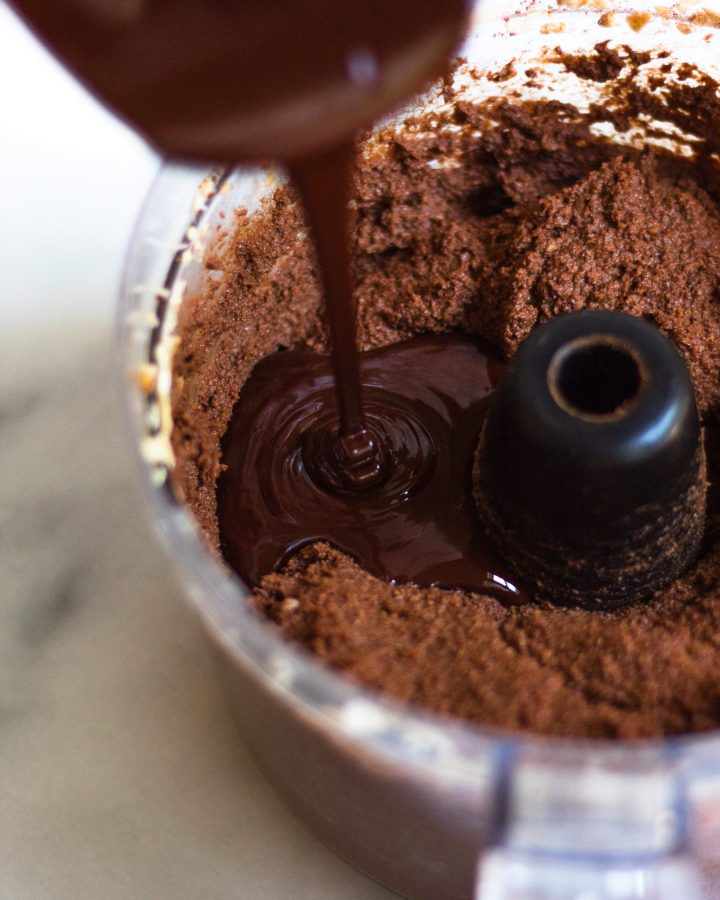 chocolate poured into chocolate pie filling