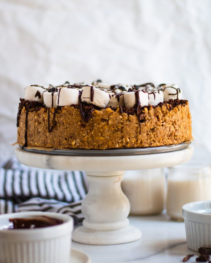 s'mores pie on cake stand