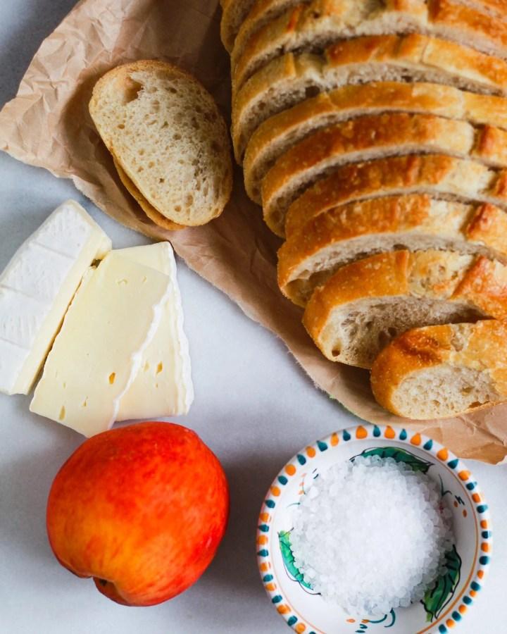 sourdough, peaches, brie, and sea salt