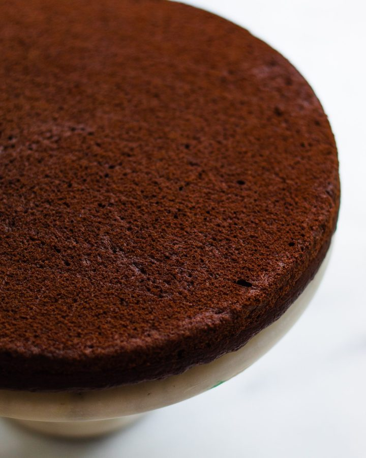 cooked vegan chocolate cake layer