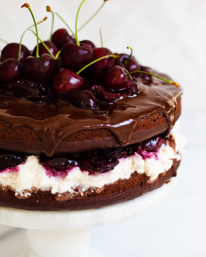 part of the whole black forest cake on cake stand
